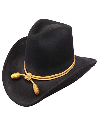 Stetson Men's Fort Crushable Wool Leather Hatband Western Cowboy Hat - Black