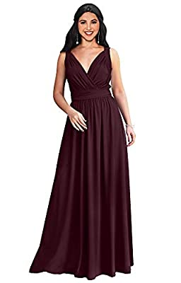KOH KOH Womens Long Sleeveless Flowy Bridesmaids Cocktail Party Evening Formal Sexy Summer Wedding Guest Ball Prom Gown Gowns Maxi Dress Dresses, Maroon Wine Red L 12-14