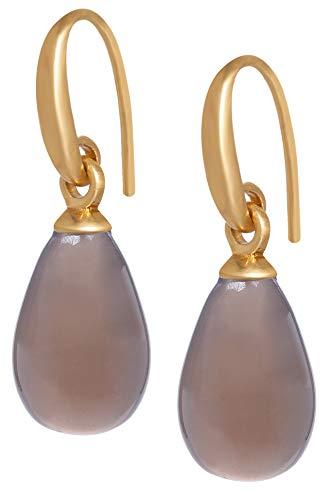 Sence Copenhagen Damen Ohrhänger Gold aus der Essential Earring-Serie mit einem Grauen Achat Tropfen Anhänger Messing vergoldet - A514