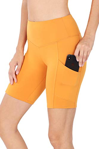 LE3NO Womens Brushed Microfiber Wide Waistband Biker Shorts with Side Pockets, ASHMUSTARD, Small