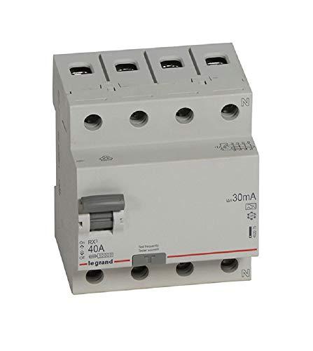 Legrand,FI-Schutzschalter 40A, 30mA; Fehlerstromschutzschalter/RCD, 4-polig - 40A / 30mA, 1 Stück, 402075