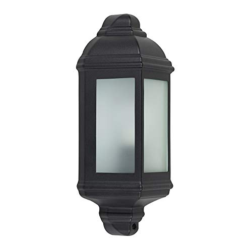 Traditional Black Aluminium Outdoor Garden Porch Wall Mounted Lantern IP44 Light - Complete with a 4w LED Candle Bulb [3000K Warm White]