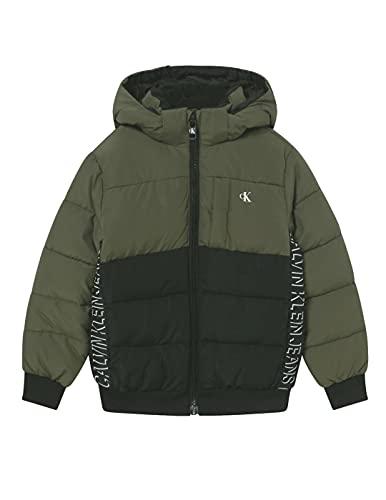 Calvin Klein - Chaqueta Estilo Plumifero CLR Block IB0IB00960 LFH EN Color Verde Y Negro- Chaqueta DE Abrigo para NIÑO (16 AÑOS)