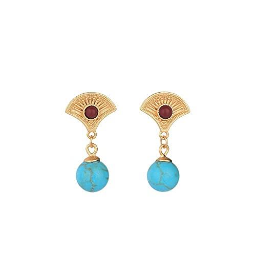 GGSDDU Pendientes colgantes vintage Palace chapado en cobre con incrustaciones de oro K con incrustaciones de imitación turquesa para mujeres pendientes de piedra natal azul
