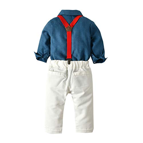 niño Bebe Caballero Camiseta Tops + Pantalones de Correas Ropa de Boda de Fiesta Camisa Manga Larga Bebe Ropa de Otoño Invierno Azul 18-24 Meses