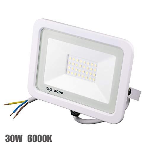 POPP® Foco Proyector LED 30W para uso Exterior Iluminación Decoración 6000K luz fria Impermeable IP65 Blanco transparente y Resistente al agua.PACK x2 (30)