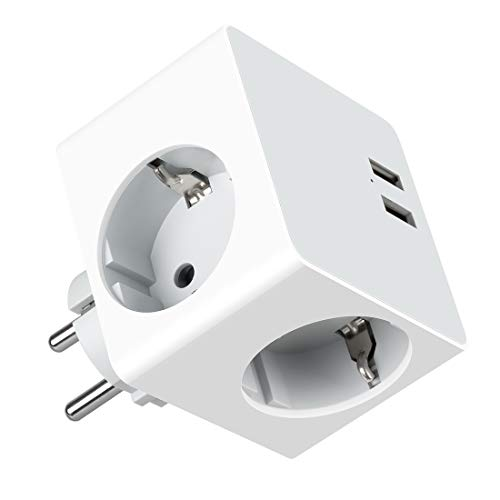 USB Steckdose, Steckdosenadapter Steckdose mit 2 USB Anschluss Max. 2,4A Tragbare Reiseadapter, 16A/250V, Max.3680W