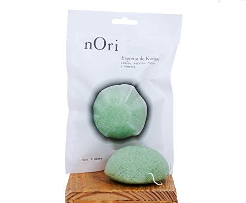 NORI Esponja Konjac Facial Té verde / KONJAC SPONGE NATURAL / Para todo tipo de piel /Limpia y exfolia a profundidad tu piel / Recobra la luminosidad natural y la belleza de tu...