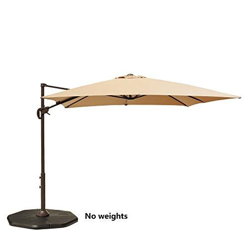 Le Papillon 8ft x 8ft Cantilever Umbrella Hanging Offset Patio Umbrella Rectangular Cross Base, Beige