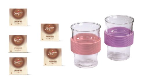Senseo Cappuccino Choco, 5er Pack (5 x 92 g) + 2er-Set, mit Silikonring kirsch-viloett