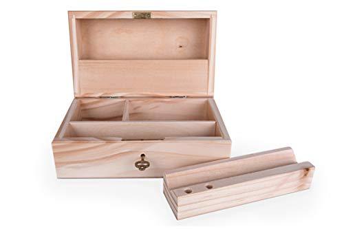 Abschließbare Weed-Box zur Aufbewahrung von Drehzubehör/Handgefertigte Joint-Box mit hochwertiger Verarbeitung/Spliff-Box aus Holz für Tabak-zubehör mit Rollhilfe