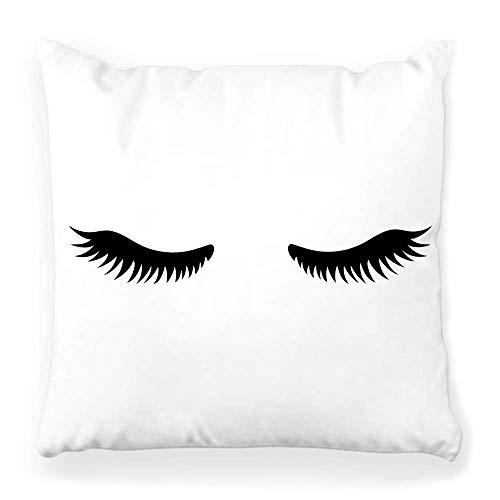 Fantastic Fairy Pillow Cover 20x20 Close Cute Icon Web Isolated White Eye Lashes Sleep Abstract Backdrop Beauty Black Cartoon Cilia Concept