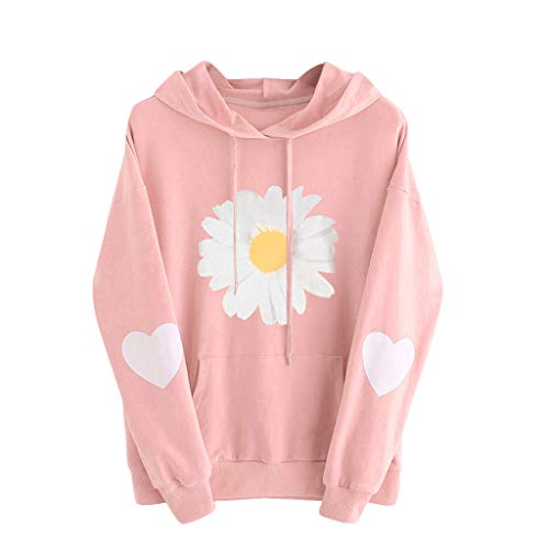 VEKDONE Women Teen Girls Cute Graphic Sweatshirts Sunflower Print Long Sleeve Crewneck Casual Pullover Tops Plus Size(Pink,XX-Large)