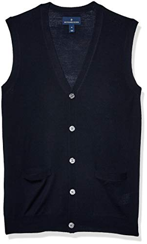 Amazon Brand - Buttoned Down Men's Italian Merino Wool Lightweight Cashwool Button-Front Sweater Vest, Midnight Navy Small