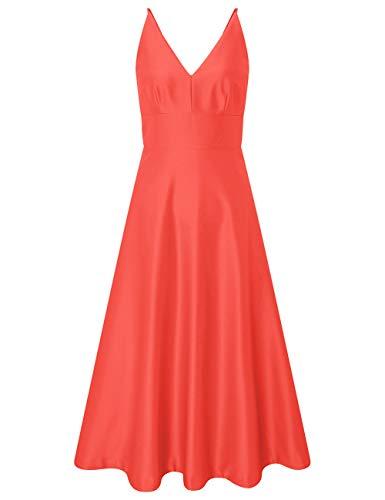 HUINI Vintage Cocktailkleider Knielang Abendkleid Hochzeitskleider V-Ausschnitt Sommerleid Damen Brautjungfernkleider Koralle 44
