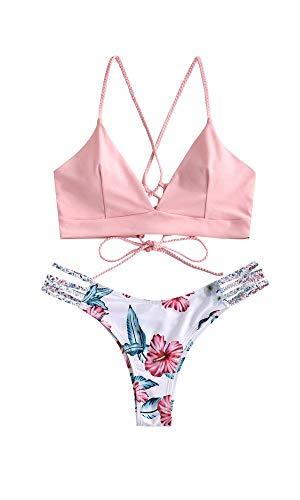 ZAFUL zweiteilig Bikini-Set mit Flechtgurt verstellbarem BH Push-Up Rücken, Triangle Bustle Badehose mit Blummenmuster (Rosa, S (EU 36))
