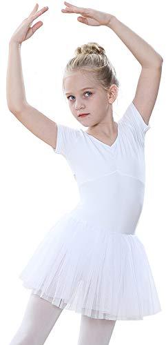 tanzdunsje Ragazze Vestito da Balletto Body Danza Tutu Body Morbido Cotone con Maniche Corte con Fiocco Grande e Carino