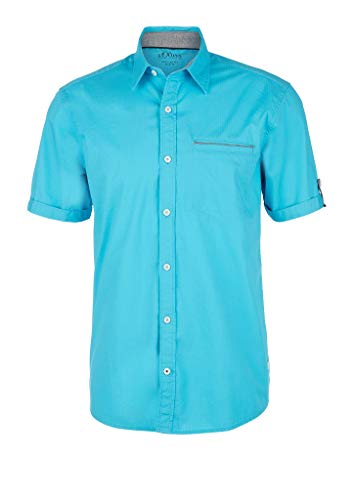 s.Oliver RED Label Herren Regular: Kurzarmhemd mit Webmuster Turquoise L
