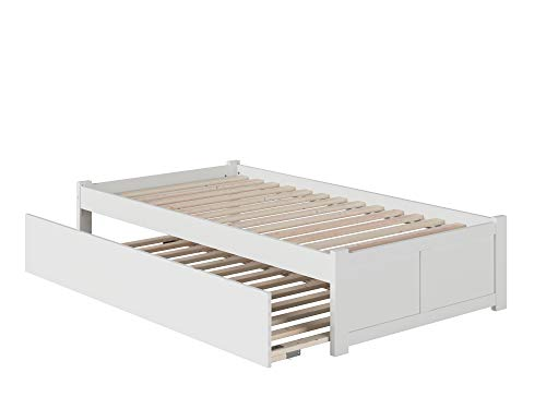 Atlantic Furniture Concord Platform Flat Panel Foot Board and Twin Size Urban Trundle Bed, White