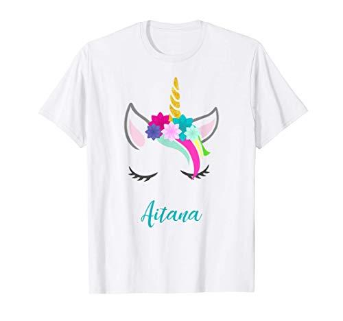 T-Shirt Personalizada Nombre Aitana Unicornio Camiseta
