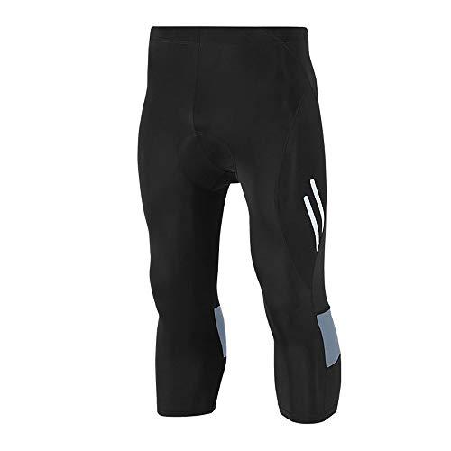Huanxin Pantalons vélo pour Hommes matelassée Cyclisme Collants 3/4 Capris Compression Respirant à séchage Rapide,a,L