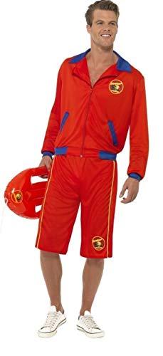 Fancy Me Herren Baywatch Leben Wächter Uniform TV David Hasselhoff Rettungsdienste Kostüm Kleid Outfit - Rot, Large