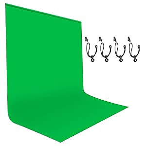 Neewer 6x9ft/1.8x2.8M Green Screen, Photography Backdrop Background, Green Chromakey Background for Photo Video Studio Film Television, 4 Backdrop Clips Included