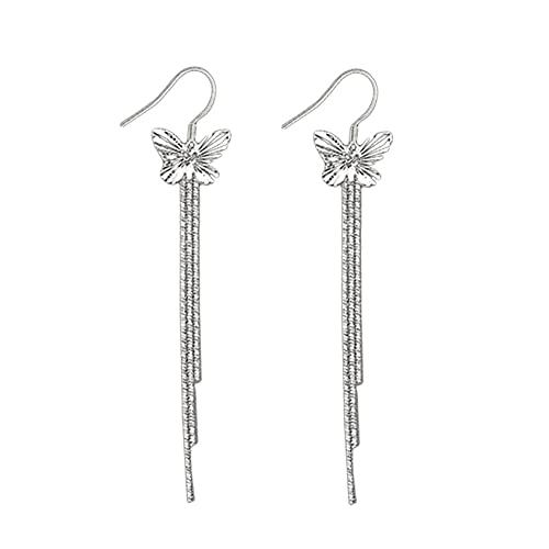 Pendientes largos de mariposa de plata SMEJS para mujer, pendientes largos con borla, elegante colgante de mariposa, pendientes con enhebrador, joyería, adornos de regalo