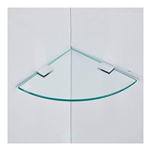 Shelf Regal Handtuchhalter aus Glas, schwebend, Eckregal, Badezimmer aus gehärtetem Glas, 8 mm dick, Wandmontage, dreieckig, 17,8-30,5 cm, Temperiertes Glas, 18 cm