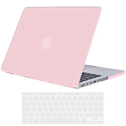 Tecool Custodia MacBook PRO 13 Retina Case, Plastica Case Cover Rigida Copertina con Copertura della Tastiera in Silicone per MacBook PRO 13.3 Pollici Retina Modello: A1425 And A1502(Rose Quartz)