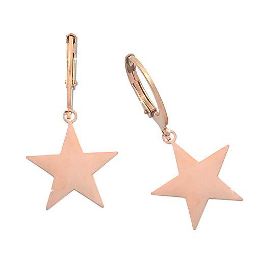 Beloved Pendientes básicos con colgante de temática – apto para lóbulos perforados – Cierre de presión – Oro rosa estrella