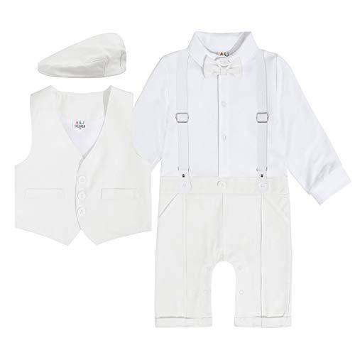mintgreen Vestidos de Bautizo para Bebés Varones, Infantil Traje de Boda Caballero Mono,Marfil, 12-18 Meses