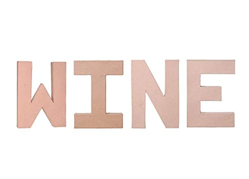 DIY Craft - Wall or Shelf Decor Project - Unfinished Paper Mache Letters Wine - 4 Piece Bundle - 8 Inch Each