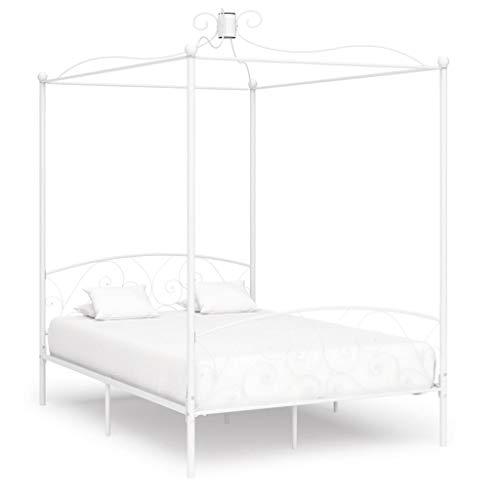 vidaXL Himmelbett Bett Bettgestell Doppelbett Metallbett Bettrahmen Lattenrost Schlafzimmerbett Schlafzimmermöbel Ehebett Weiß 140x200cm