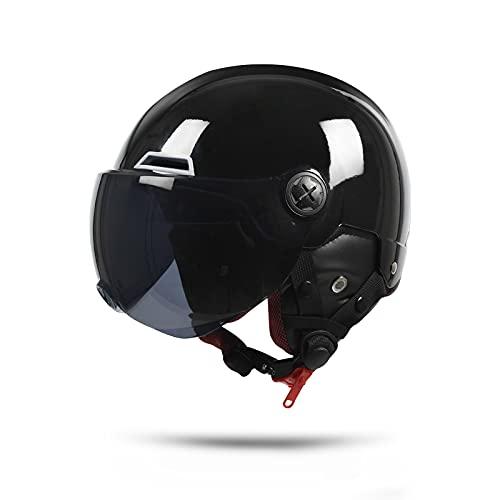 casco scooter xs donna LIONCIANO Metà Aperto Faccia Casco Del Motociclo Con Occhialoni,Casco Modulare Scooter,l'Anti-Collisione Protegge La Sicurezza Stradale Degli Utenti(Nero Brillante