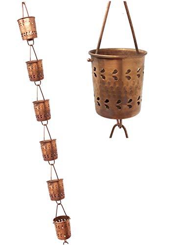 U-nitt Regenkette aus reinem Kupfer, für Dachrinnen: Zylinder Florenz, 24,6 cm, Länge #5559
