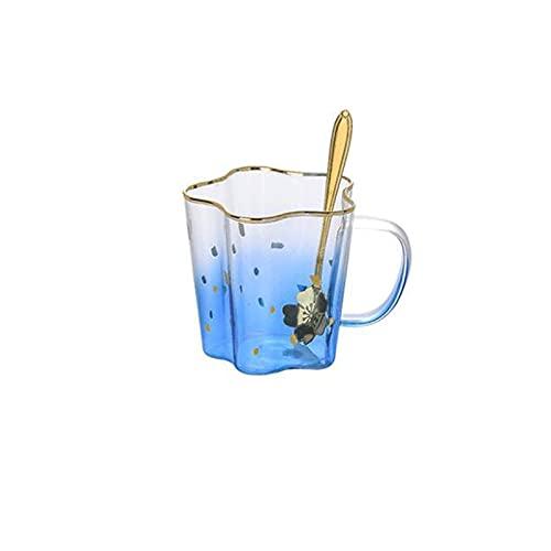Dabeigouzbolb Glaser Glas Kaffeetasse, 14 Unzen Kreative sternförmige Kaffeetasse mit Löffel, tägliche Verwendung Trinkbecher für Home Küchenbüro (Color : Blue)