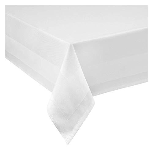TEXMAXX Atlaskante Vollzwirn Tischdecke aus Baumwolle für Hotel und Gastronomie - 130 x 280 cm eckig in Weiss - weitere Größen sind wählbar