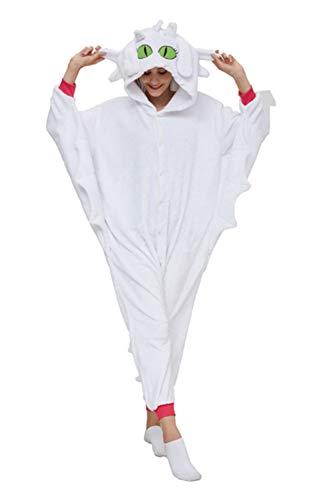 Lancoszp Erwachsene Light Fury Cosplay Kostüm Anime Flanell Drache Pyjama Overall Halloween Party Lange Fledermausärmel Kapuze Einteiler Gr. XL/ Höhe 178/182 cm, weiß