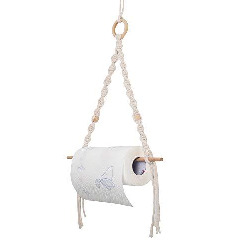 Eiyye Wooden Paper Towel Holder Toilet Macrame Wall Hanging Boho Decor Wall Mount Kitchen