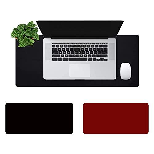 Doble Cara Alfombrilla Escritorio, Alfombrilla Raton Grande,Impermeable Protector mesa Escritorio la Oficina y el Hogar, Doble Cara, negro + rojo(Size:70x170)