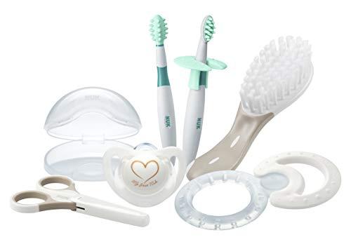 NUK 10256412 Welcome Set, perfekte Erstausstattung für Neugeborene, sieben NUK Produkte in einer schönen Tasche, Weiß/Grau/Mint Neutral - 2