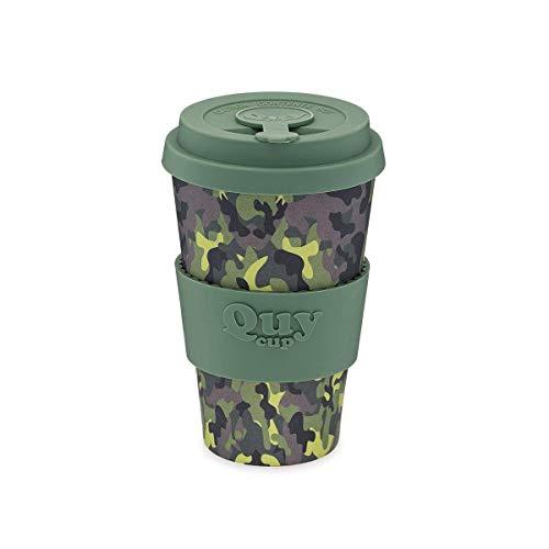 QUY CUP. Camouflage. Kaffeebecher to Go, Travel Mug, Bamboo Cup als Mehrweg Tasse für unterwegs, Coffee to go Becher, nachhaltiger Becher mit Deckel und Silikonmanschette, 400ml