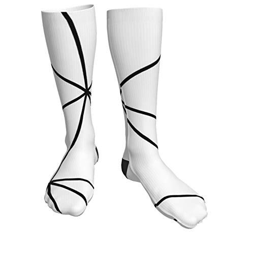 Jack16 Zara Mono Geometrische weiß schwarz Unisex Kniestrümpfe Lange Socken Hohe Stiefel Oberschenkelstrümpfe Beinwärmer Sport Strumpf