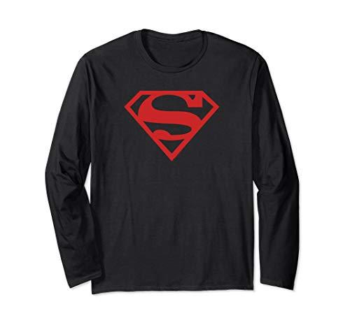 Superman Red on Black Shield Long Sleeve T-Shirt