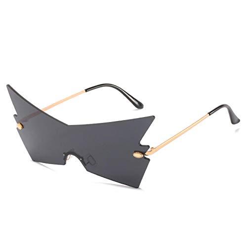 Powzz ornament Gafas de sol sin montura punk de moda para mujer, gafas de una pieza con personalidad de lujo, gafas coloridas para mujer UV400, gafas de sol-1_Universal