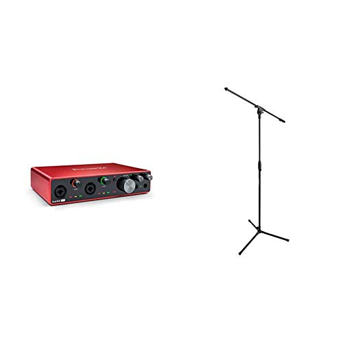 Focusrite Scarlett 8i6 (3rd Gen) USB Audio Interface with Pro Tools | First & Amazon Basics Tripod Boom Microphone Stand