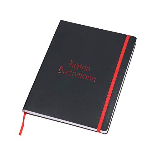 Personalisiertes Notizbuch A5 Kariert mit Namen 80 Seiten Tagebuch Personalisiert mit Wunschtext durch Farbige Lasergravur (Schwarz-Rot)