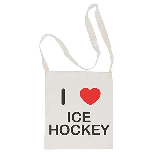 I Love Ice Hockey - Langer Schultertasche aus Baumwolle