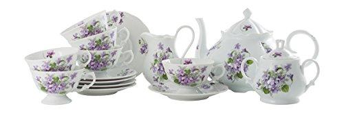 La Cija Le Viole Alaska-Set da tè in Porcellana Servizi 6, Colore: Bianco